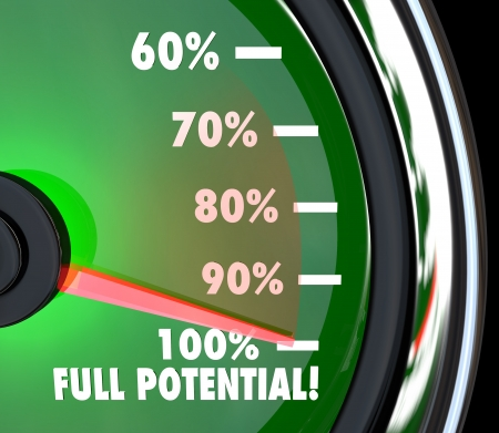 succeeding: A speedometer with needle pointing to 100% Full Potential to symbolize that your maximum potential of opportunity has been reached and surpassed Stock Photo