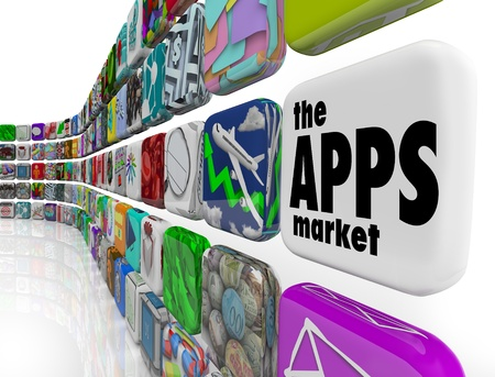 mobile device: The words App Market on a white application tile in a wall of apps in a store which sells software programs for download to your smart phone or other electronic device