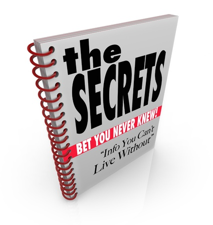 informed: A spiral bound book with headlines reading The Secrets - Bet You Never Knew, and Info You Cant Live Without  Stock Photo
