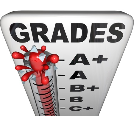 grades: A thermometer measuring grades with mercury rising past A+ and the glass bursting as a symbol of achievement and reaching a perfect score Stock Photo