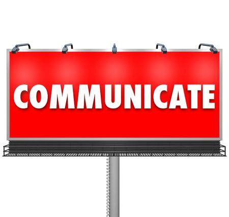 preocupacion: Un enorme cartel de color rojo al aire libre muestra la palabra, comunique a compartir una idea, crear conciencia sobre un problema o inquietud, o anunciar un nuevo producto Foto de archivo