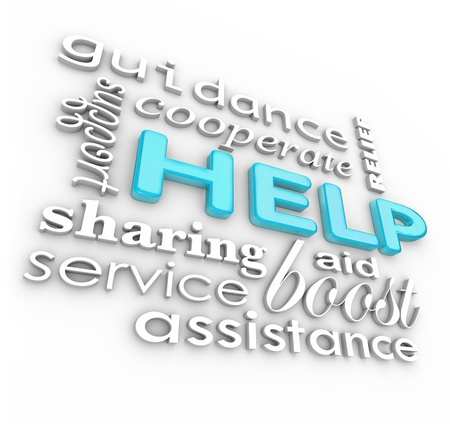 assisting: The word Help and many related words such as service, support, aid, cooperate, boost, assistance, guidance and more as a background of encouraging phrases  Stock Photo