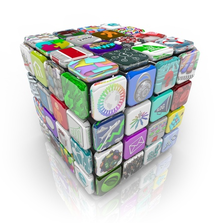 A 3D cube made of app tiles representing applications and software you can buy and download to your smart phone, tablet computer or other mobile device