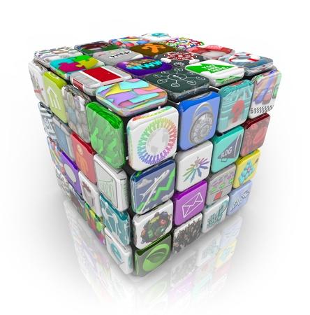 tu puedes: Un cubo 3D de azulejos que representan a las aplicaciones y de aplicaciones de software que usted puede comprar y descargar a su tel�fono inteligente, tablet u otro dispositivo m�vil