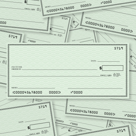 A pile of blank checks with a single check on top in straight layout with open spacing for you to place your own words Stock Photo - 12583701