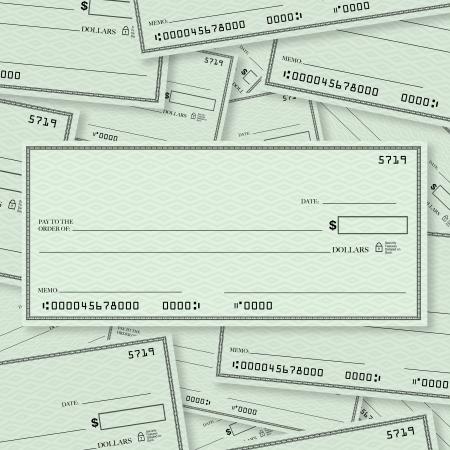 Un montón de cheques en blanco con un solo cheque en la parte superior en el diseño de recta con un espacio abierto para que usted coloque sus propias palabras Foto de archivo