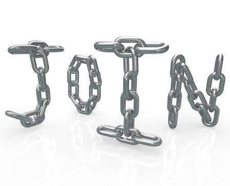 �lite: La parola Partecipa maglie della catena per rappresentare il blocco in sicurezza di entrare in un gruppo, di affari, di comunit� o di amicizia ed i benefici di appartenenza a questa �lite associazione