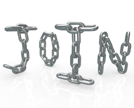 networked: The word Join in chain links to represent the locked in security of joining a group, business, community or friendship and the benefits of membership in this elite association Stock Photo