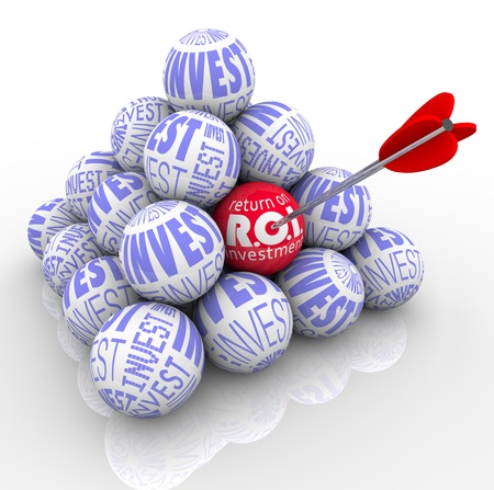 A pyramid of balls marked Invest and an arrow targeting one with the words Return on Investment symbolizing the need to target the best investing strategy Stock Photo - 12583704