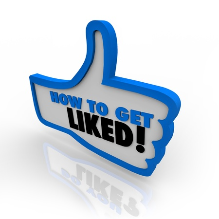 thumbs up icon: A los pulgares trazada en color azul hasta el icono con las palabras C�mo Conseguir Me gust� ofrece consejos sobre ganando popularidad y aprobaci�n en el Internet o en los negocios