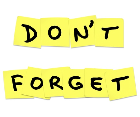 reminding: The words Dont Forget
