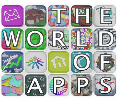 The words The World of Apps spelled out on application app tiles representing a variety of software choices for you to download to your smart phone, tablet computer or other mobile device