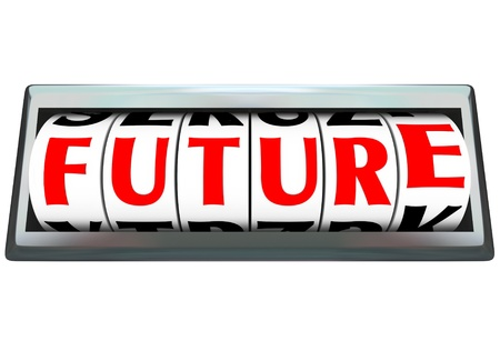 new opportunity: The word Future on dials of an odometer or slot machine changing as time marches on and new opportunity lies ahead for you to succeed and reach your destiny or fate Stock Photo