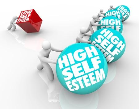 Een persoon met een laag gevoel van eigenwaarde verliest de race van het leven van mensen met een hoge zelf zelfverzekerdheid en respect, waarin het belang van vertrouwen en houding Stockfoto