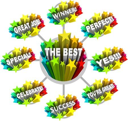 reconnaissance: Beaucoup de mots et des phrases de louange et gloire � f�liciter et � f�liciter quelqu'un pour faire un excellent travail