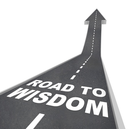 understand: The words Road to Wisdom on a road leading upward to the future, increasing your intelligence and enlightenment through education