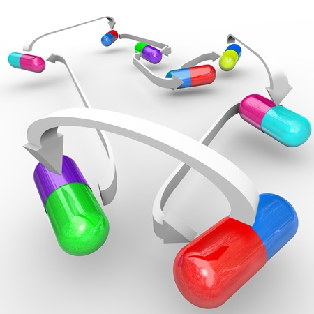 interaction: Several different colored capsules and pills are connected with arrows to show interactions of medicines taken together and possible side effects