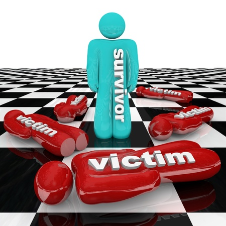 One person stands marked with the word Survivor surrounded by many other people marked Victim, representing victims of change or bad circumstance Stock Photo - 12583718