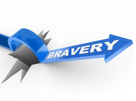 The word Bravery on a blue arrow jumping over a hole symbolizing the survival instinct and being brave and courageous to beat and overcome an obstacle Stock Photo - 12583711