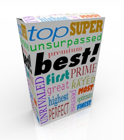 product reviews: The word Best and many others representing high regard and accolades on a product box
