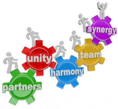succeeding: A group of people walking upward on connected gears with the words Partners; Unity; Harmony; Team and Synergy to symbolize the rise, achievement and success of many individuals working together in teamwork Stock Photo