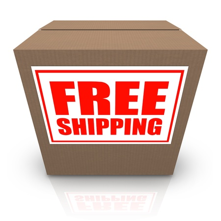 A brown cardboard box with a white sticker and red letters reading Free Shipping offering a special no cost shipment plan for your order of merchandise photo