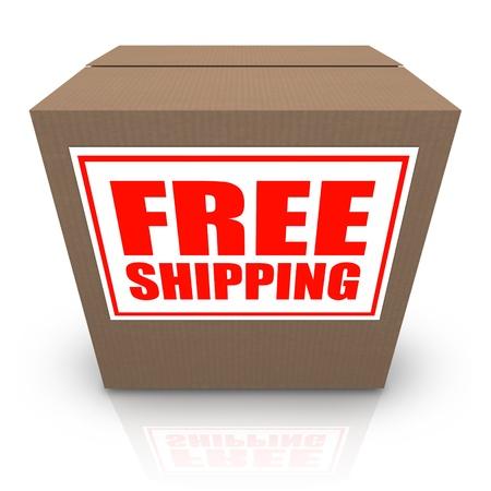 Una caja de cartón marrón con una etiqueta blanca y letras rojas envío gratuito de lectura que ofrece un especial de ningún plan de traslado de costos para su pedido de la mercancía Foto de archivo - 12844652