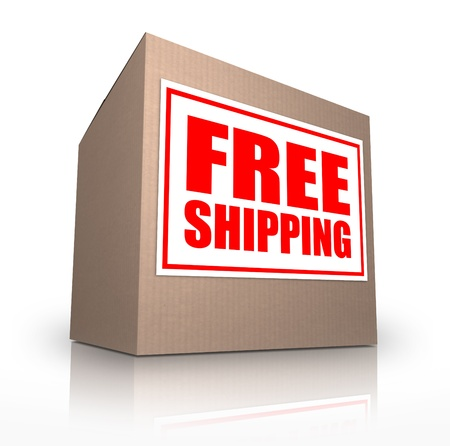 arrive: A cardboard box on an angle with a sticker reading Free Shipping telling you that you can ship your ordered merchandise or products for no extra cost from an online store or catalog