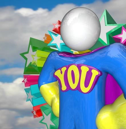 reconocimiento: Una persona en un traje de s�per h�roe y la palabra que en el pecho, que le dice que usted es un h�roe para su equipo, el empleador, familia o comunidad para hacer un gran trabajo y alcanzar los logros y el �xito Foto de archivo