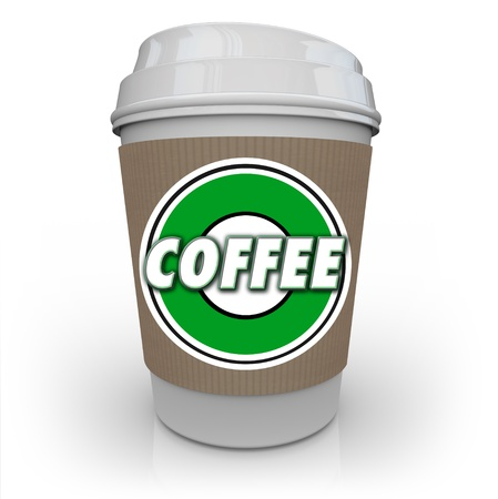 java: A cup of coffee from a store or restaurant with a holder sleeve and logo with the word Coffee on it to help wake you up in the morning with a jolt of caffeine java