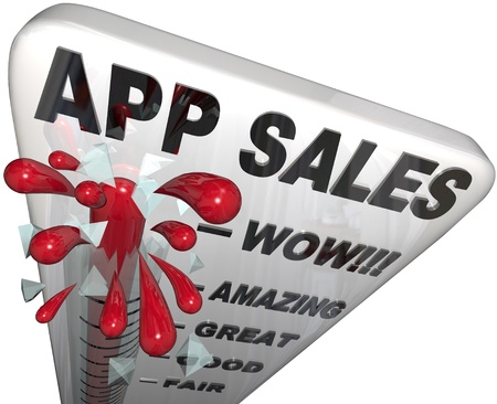 downloadable: The words App Sales on a thermometer tracking the rising revenues and profits enjoyed by application software stores offering downloadable software for smart phones and mobile computers Stock Photo