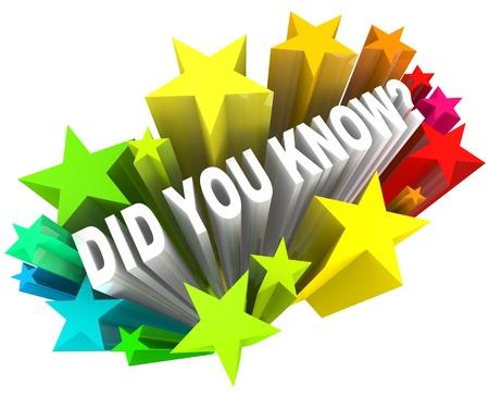particolare: Le parole Did You Know porre la domanda circa se avete sentito le ultime informazioni, gossip, news, voci o altre intuizioni su un particolare argomento o problema
