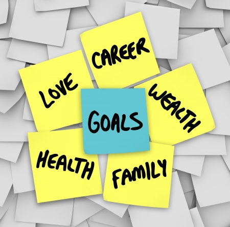 fulfilling: Many sticky notes with your personal Goals written on them including love, family, career, wealth and health -- the elemetns of a successful, fulfilling life Stock Photo