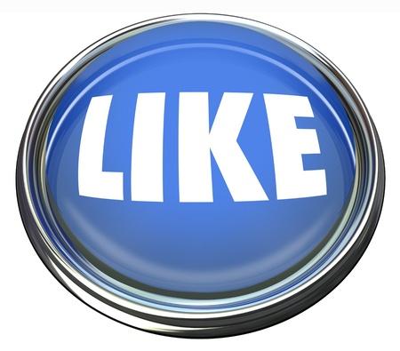 単語とラウンド青色のボタンのようにあなたの承認またはウェブサイト、ソーシャル ネットワーク、発言の楽しさを示すために