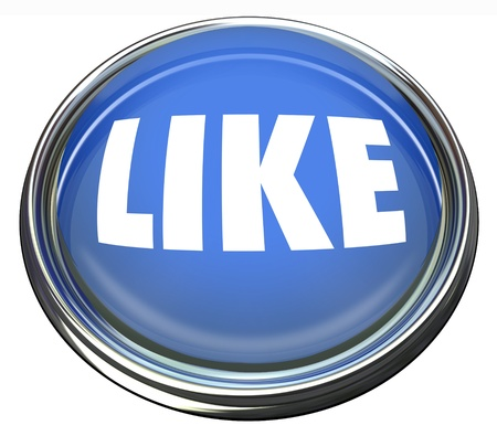 blue button: A round blue button with the word Like to indicate your approval or enjoyment of a website, social network, remark Stock Photo