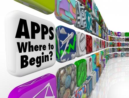 empezar: Las aplicaciones de las palabras - por d�nde empezar preguntando si usted necesita ayuda para elegir los mejores programas de aplicaciones o software para poner en su dispositivo m�vil o tel�fono inteligente, o c�mo desarrollar aplicaciones Foto de archivo