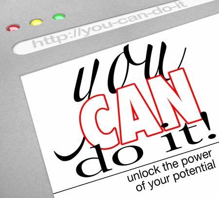 believe: Un fondo de p�gina web en una ventana de navegador de Internet con el titular You Can Do It - desbloquear el poder de su potencial que ofrecen las t�cnicas de autoayuda y un how-to en tener �xito en la vida y sobre metas Foto de archivo