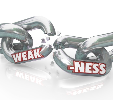 vulnerable: The word Weakness on breaking, weak chain links symbolizing a lack of strength and ability, being vulnerable to outside forces or illness, driving you and your group apart