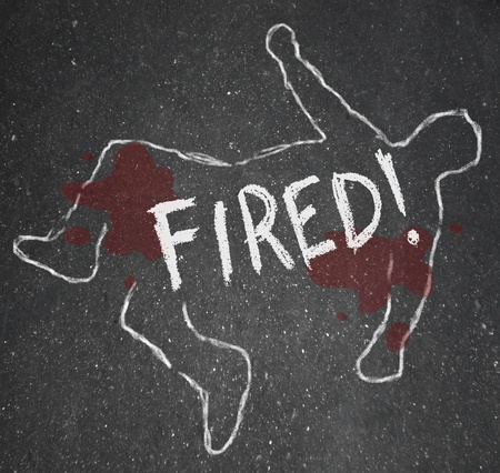 The word Fired on a chalk outline of a dead body symbolizing someone who has been the victim of firing or layoffs photo