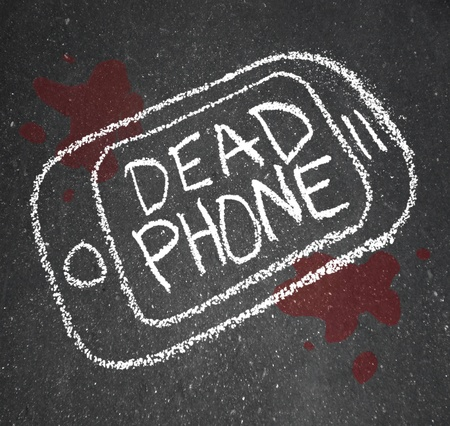 A chalk outline of a dead phone on pavement with blood around it Stock Photo