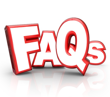 The letters FAQs standing for Frequently Asked Questions in 3D lettering representing question and answer ped or forum to get you the solution and help you need for a problem or confusion Stock Photo - 13031170