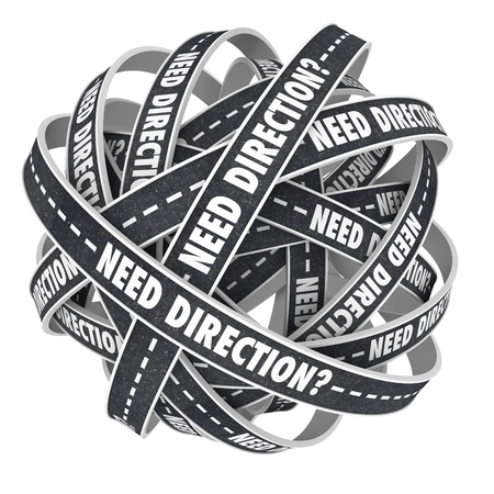 arbitrario: Una bola de caminos retorcidos que van en c�rculos con las palabras necesitamos una direcci�n en una pregunta que le pregunta si necesita ayuda para encontrar su camino o una ruta en la vida