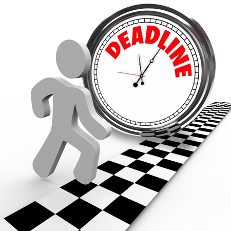 A running person reaches a finish line in a race against a clock with the word Deadline, representing a dash to quickly complete a job or task or other objective before time is up Stock Photo