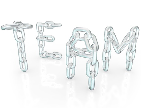 The word Team made up of chain links symbolizing teamwork, togetherness, community, solidarity and society, people joining together to work for the common good Stock Photo - 13164873