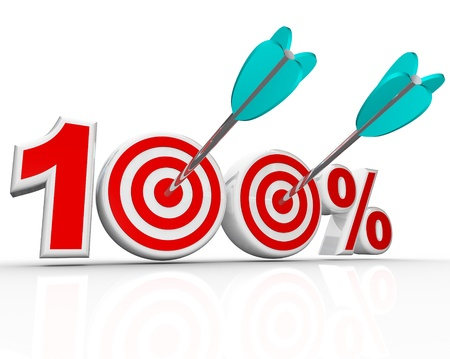 The number 100 percent with arrows shooting into the bulls-eye targets representing success in achieving your total goal, with perfection, aim, totality, full potential photo