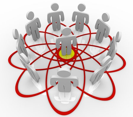 hub: Many people connected in a venn diagram or social network with one common person in the hub or center as the core contact or friend connecting everyone