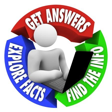 Een persoon werken op een laptop computer om onderzoek te doen en informatie met behulp van internet en web-of online-technologie om te zoeken naar antwoorden en feiten te onderzoeken vinden tijdens het surfen op het net