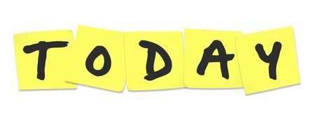 The word Today written on yellow sticky notes reminding you of tasks to do on this day or date and remember important things Stock Photo