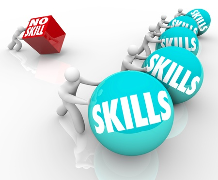 umiejętności: Jedna osoba bez umiejÄ™tnoÅ›ci popycha metaforyczny kostkÄ™ reprezentujÄ…cy wyzwaniom, przed którymi staje on w życie przed wykwalifikowanej konkurencji lepiej przygotowani do pracy lub zadania Zdjęcie Seryjne
