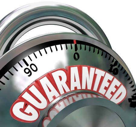 safeguarded: The word Guaranteed on a combination lock symbolizing a promise of protection, secrecy or other important value you want to secure for safety